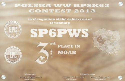SP6PWS 3rd. place in SP EPC Contest 2013 MOAB